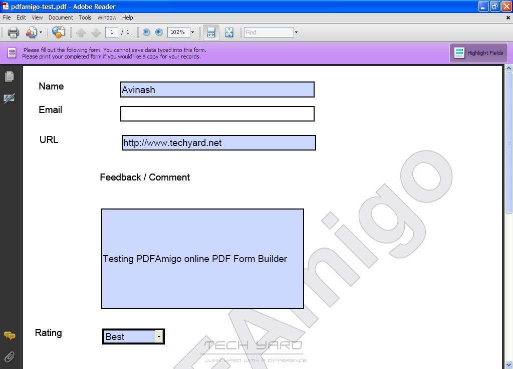 online pdf form