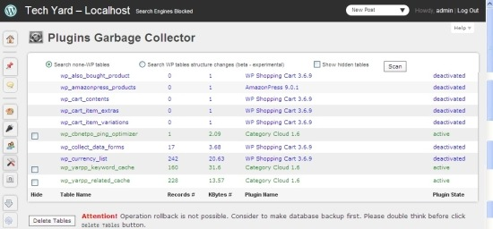 garbage collector WP plugin