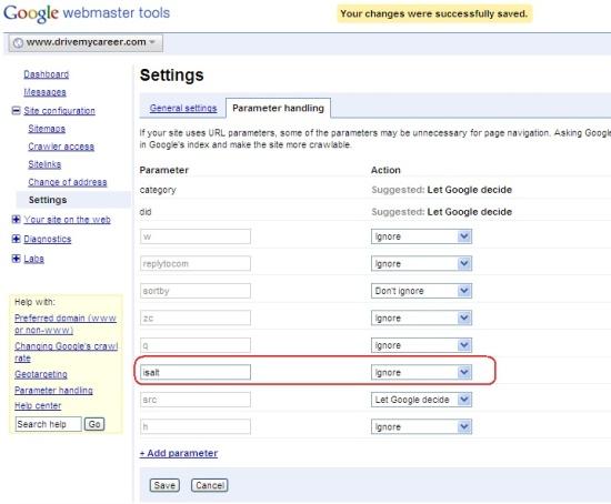 Google WebMaster Parameter Handling