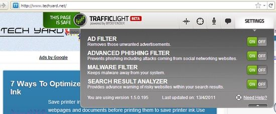 BitDefender's TrafficLight - Addon Settings