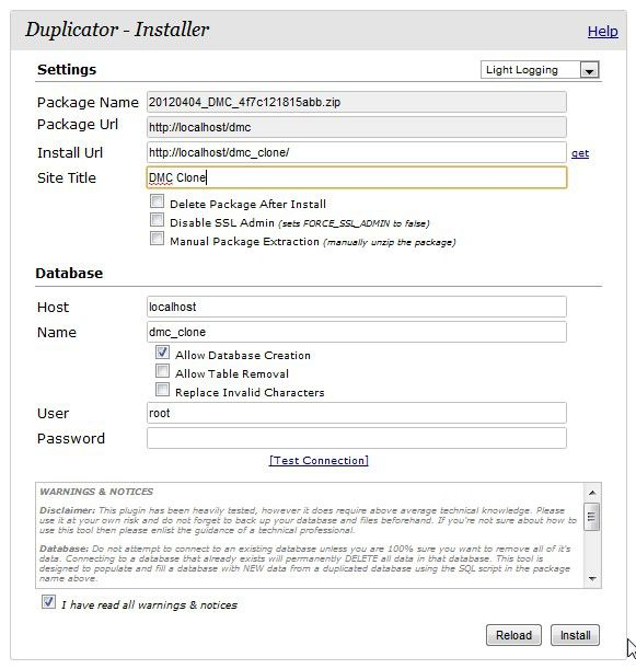 WP Duplicator Installer