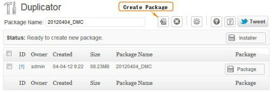 Create Duplicator Package