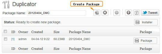 Create Duplicator Package