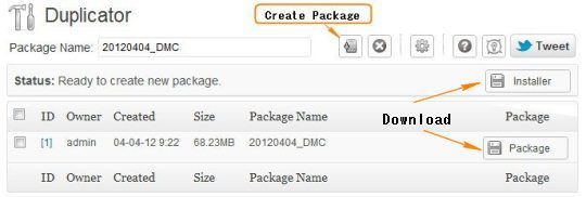 Download WP Duplicator Package and Installer